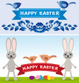 Happy easter rabbit eggs flowers ribbons vector