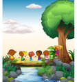 Children and river vector