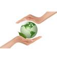 Hands holding green globe vector