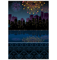 Night cityscape fireworks vector