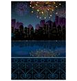 Night cityscape fireworks vector