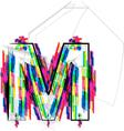 Colorful font letter m vector