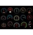 Car speedometers on black background vector