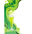 Drink card with ice and limes vector