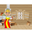 Cartoon girl in russian national dress in a house vector