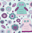 Funny hand drawn owls leaves and flowers purple vector