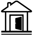 Home icon with door open vector