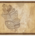 Artistically drawn stylized tribal graphic feather vector