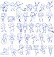 Doodle design of people doing different activities vector