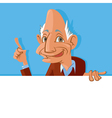 Old man holding blank sign vector