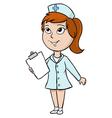 Cartoon nurse with blank tablet vector