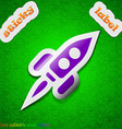 Rocket icon sign symbol chic colored sticky label vector