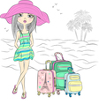 Traveler girl with suitcases on sea beach vector