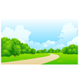 Curved path green landscape vector