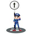 A policeman near the post vector