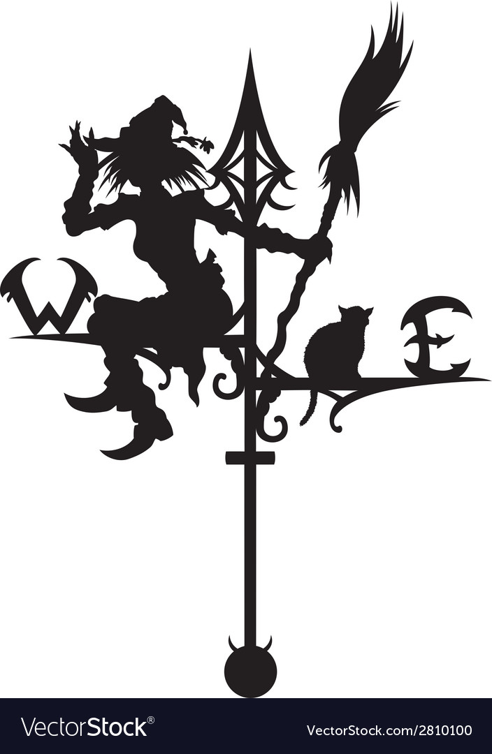 Halloweens weathervane with silhouette of a witch vector | Price: 1 Credit (USD $1)