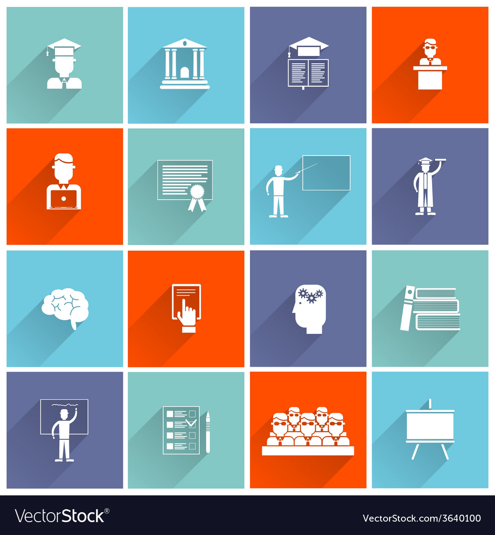 Higher education icons flat vector | Price: 1 Credit (USD $1)