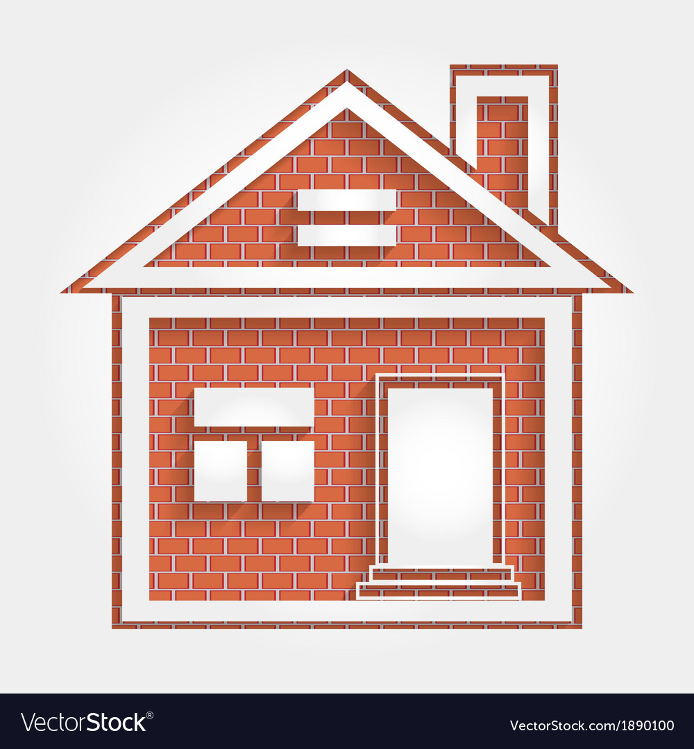 House on brick wall vector | Price: 1 Credit (USD $1)