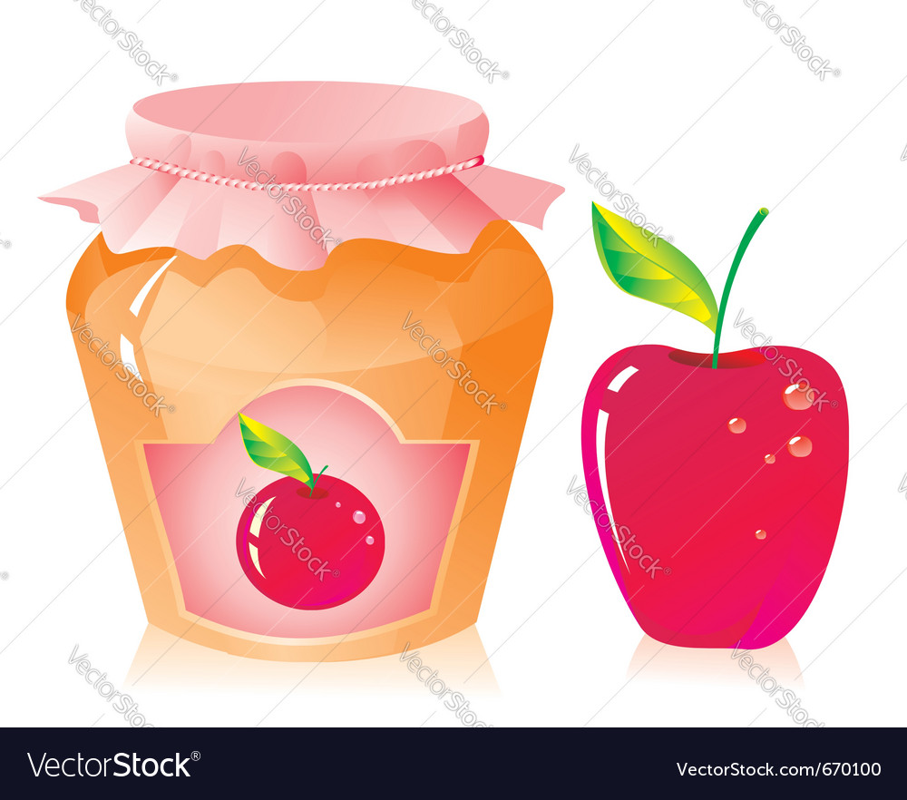 Jar of apple jam vector | Price: 1 Credit (USD $1)