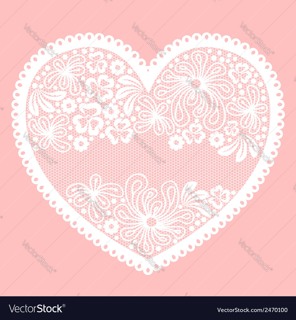 Lacy heart on pink background with empty lace net vector | Price: 1 Credit (USD $1)