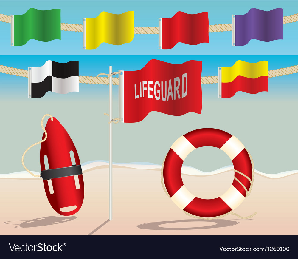 Lifeguard warning flags and floatation devices vector | Price: 1 Credit (USD $1)