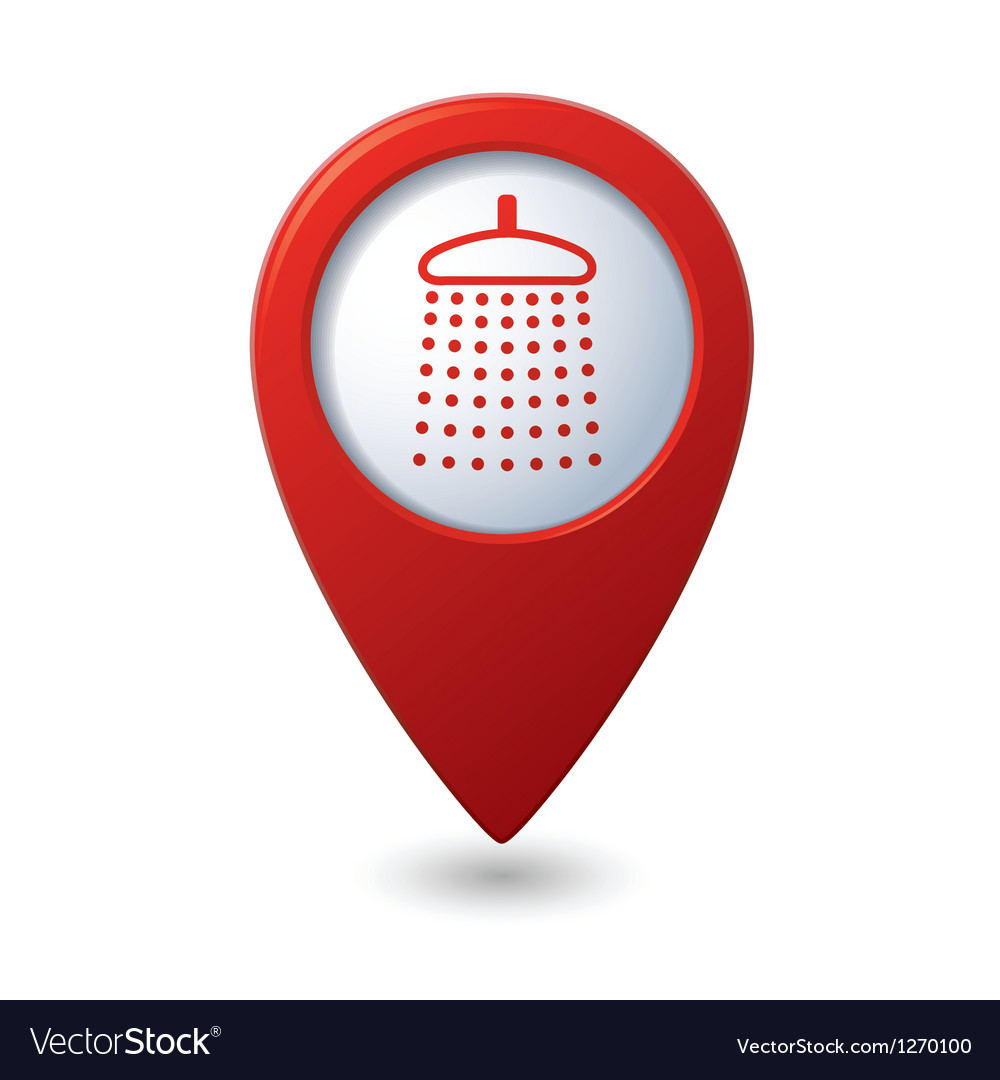 Map pointer with shower icon vector | Price: 1 Credit (USD $1)