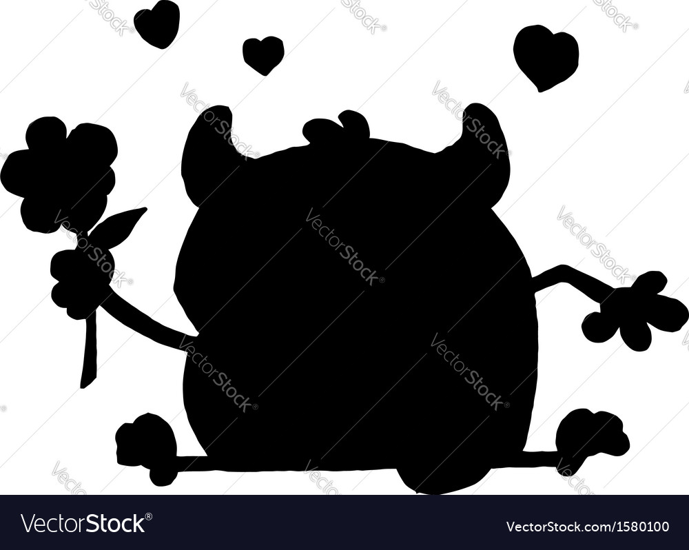 Monster cartoon silhouette vector