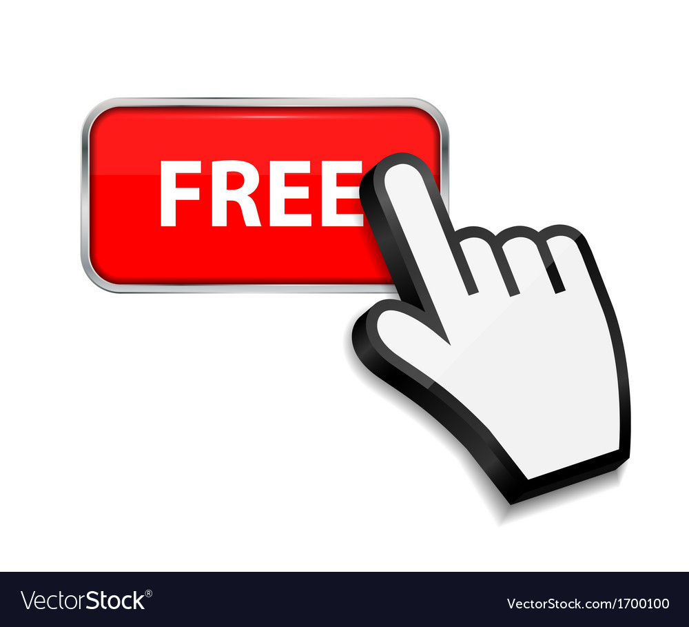Mouse hand cursor on free button vector | Price: 1 Credit (USD $1)