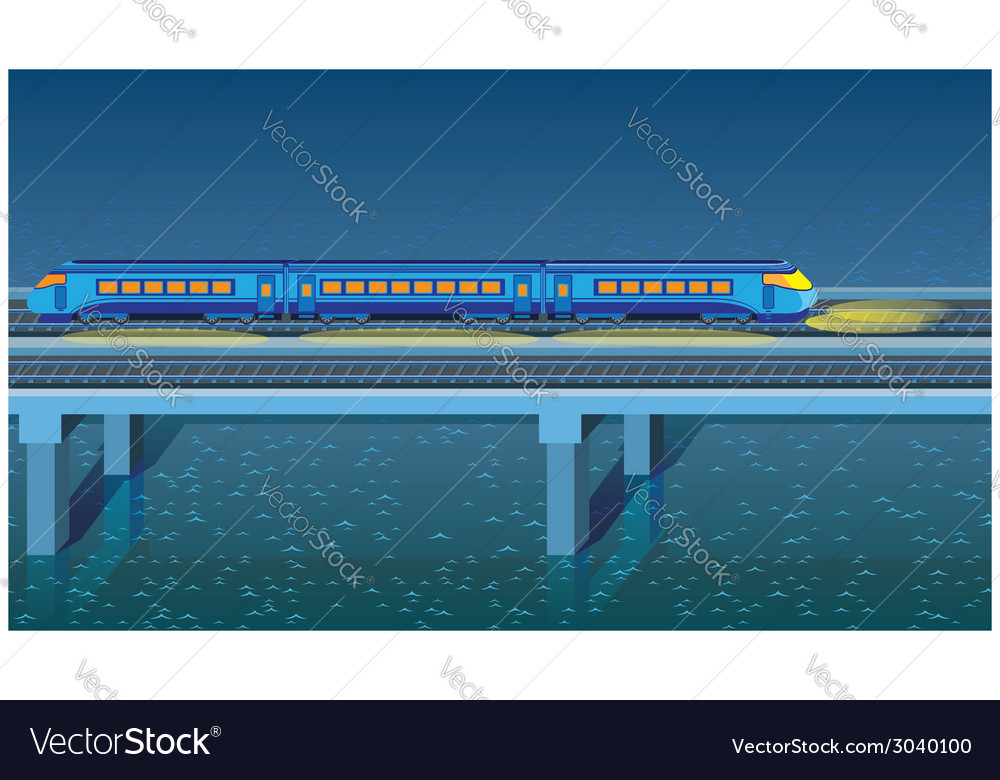Night express train vector | Price: 1 Credit (USD $1)