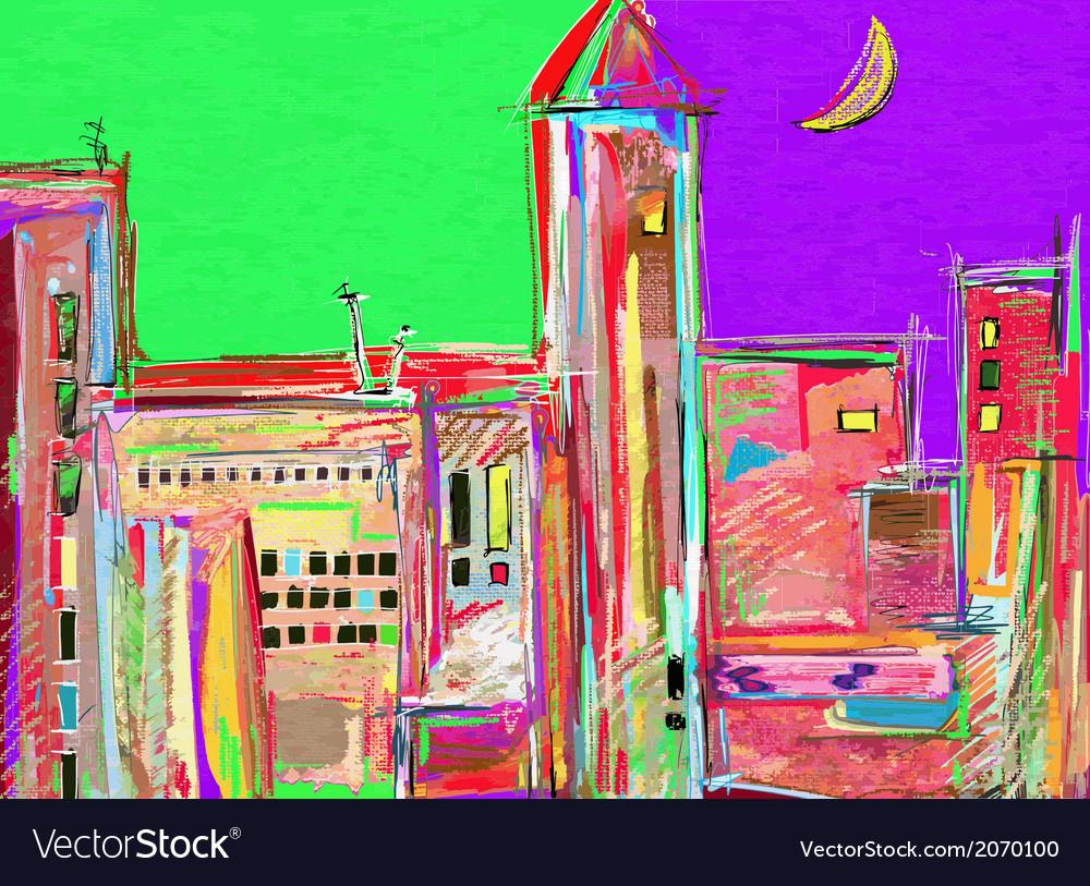 Original digital painting night cityscape vector | Price: 1 Credit (USD $1)