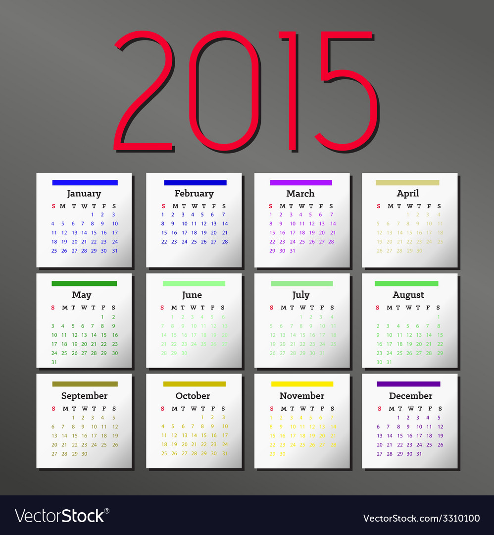 Simple 2015 calendar calendar design vector | Price: 1 Credit (USD $1)