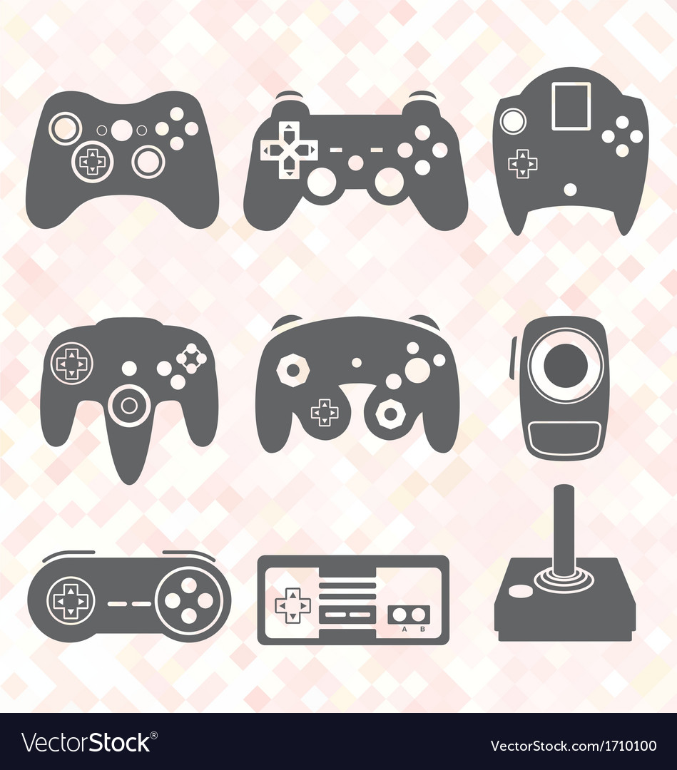 Video game controller silhouettes vector | Price: 1 Credit (USD $1)
