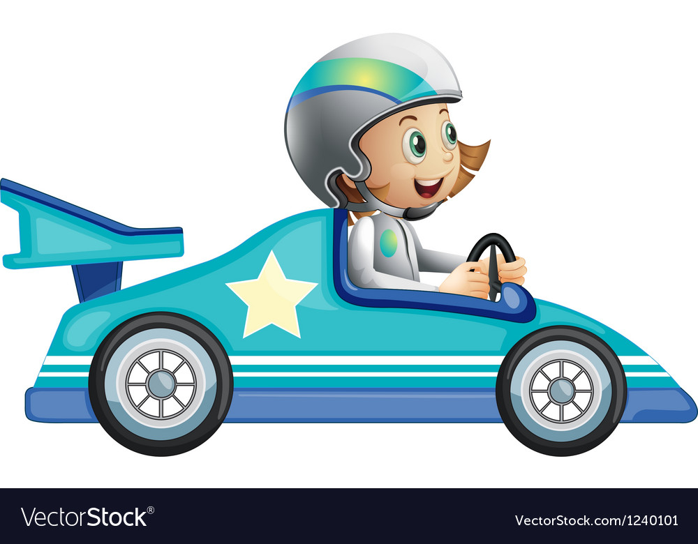 A girl in a car racing competition vector | Price: 1 Credit (USD $1)