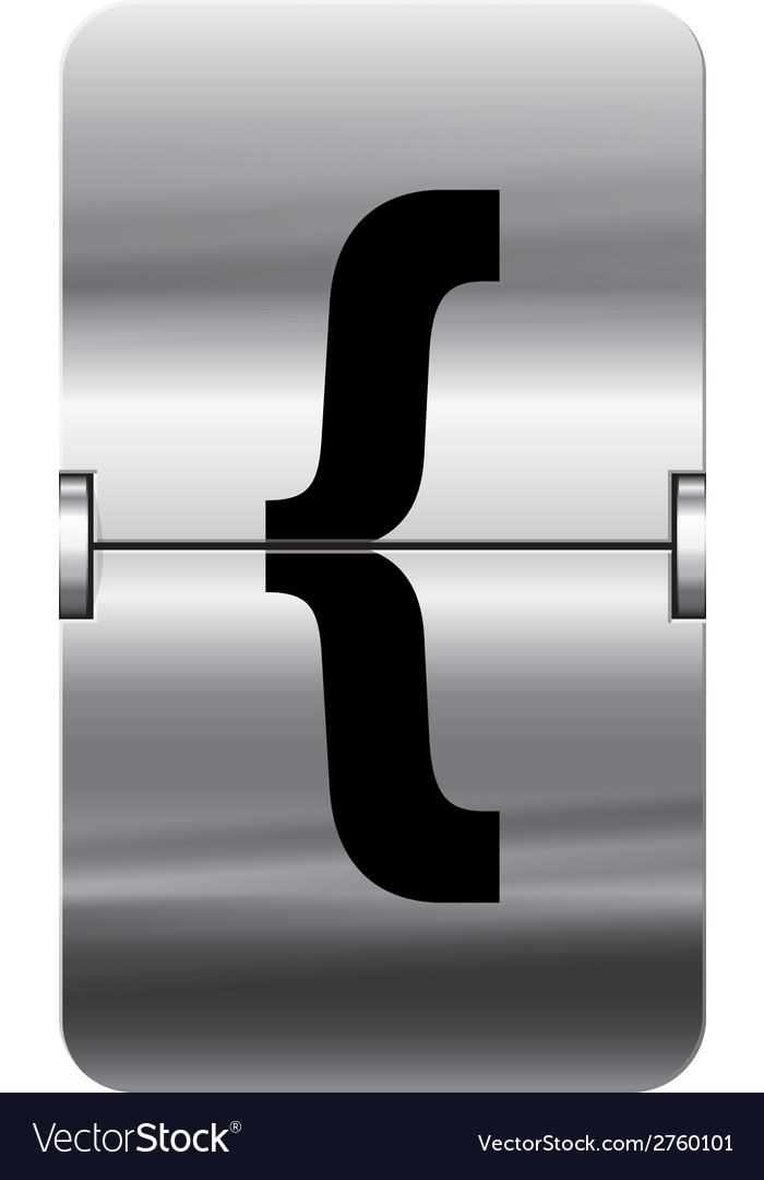 Alphabet silver flipboard letters curly brackets vector | Price: 1 Credit (USD $1)