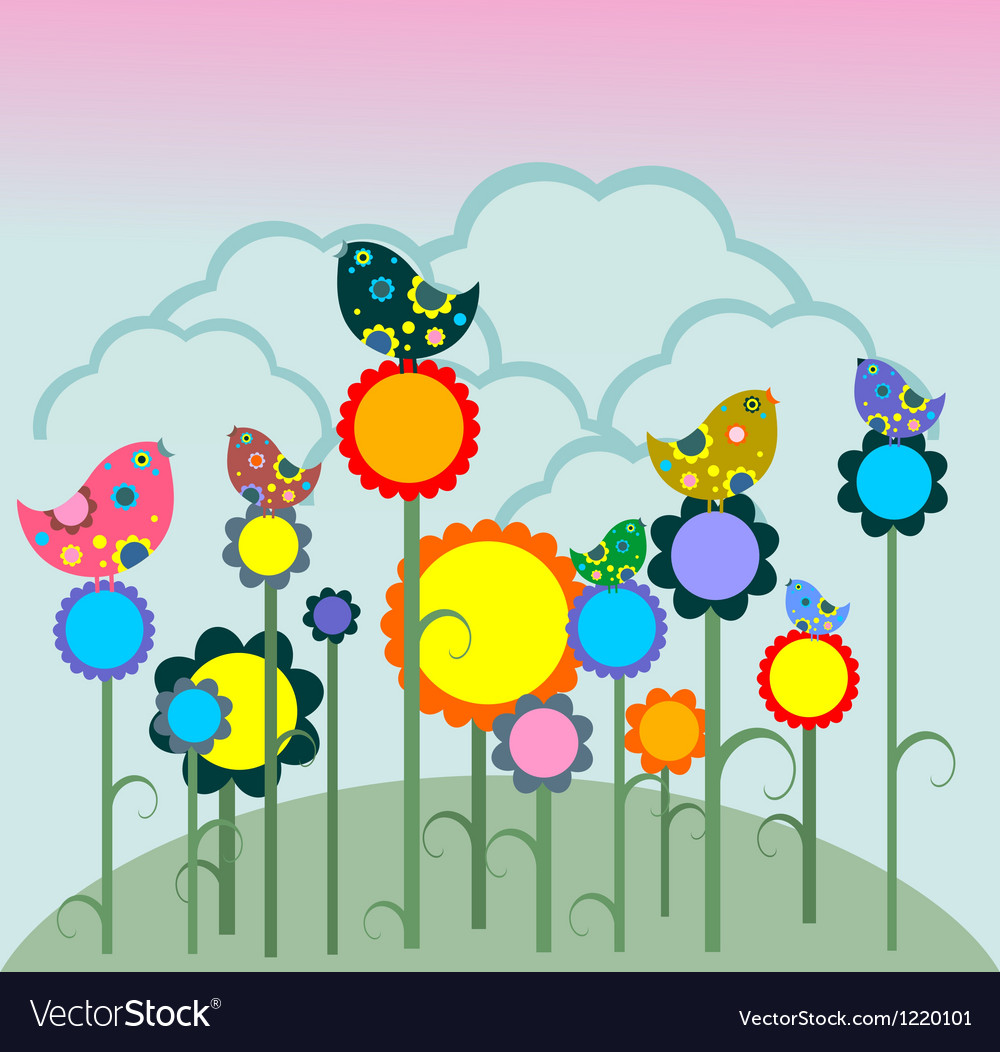Birds on flowers vector | Price: 1 Credit (USD $1)
