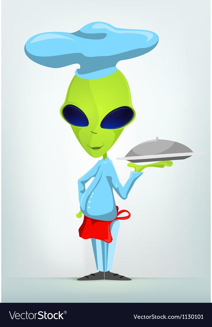 Cartoon french waiter alien vector | Price: 1 Credit (USD $1)