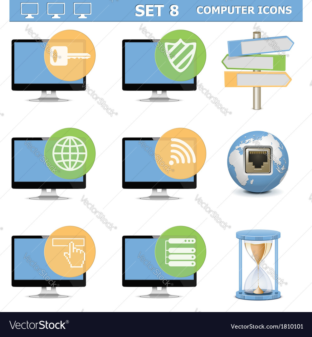 Computer icons set 8 vector | Price: 1 Credit (USD $1)