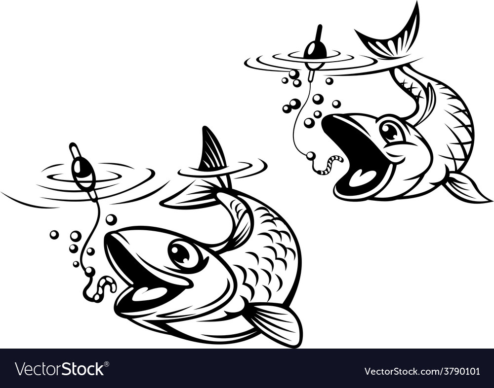 Cute fish about to be caught on a fishing line vector | Price: 1 Credit (USD $1)