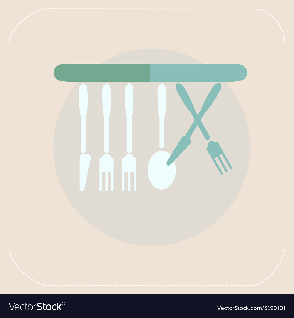 Cutlery kitchen flat icon vector | Price: 1 Credit (USD $1)