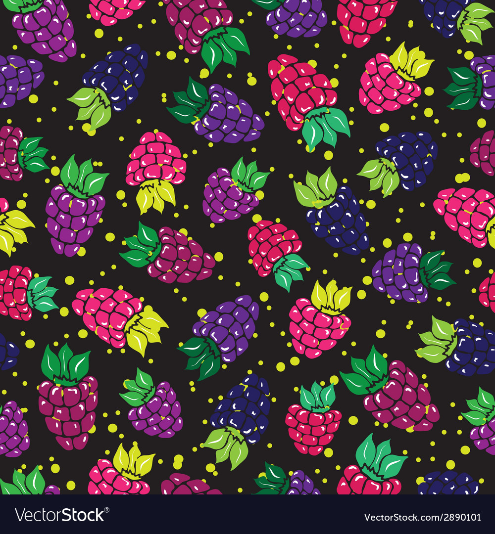 Decorative pattern with wild and garden berries vector | Price: 1 Credit (USD $1)