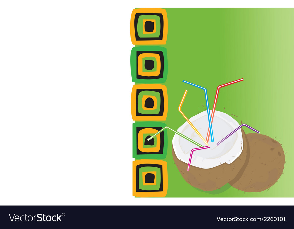 Drink card with coconut vector | Price: 1 Credit (USD $1)