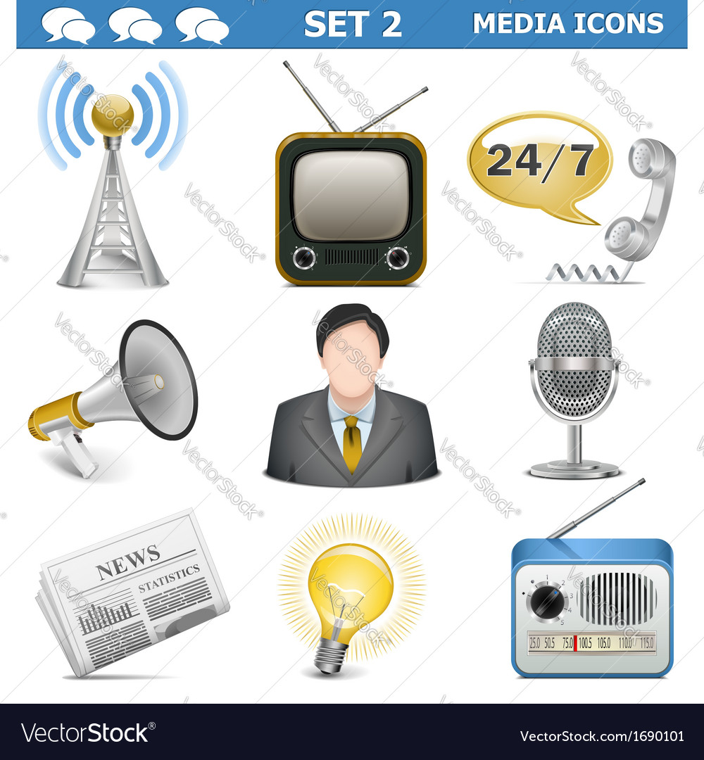 Media icons set 2 vector | Price: 1 Credit (USD $1)