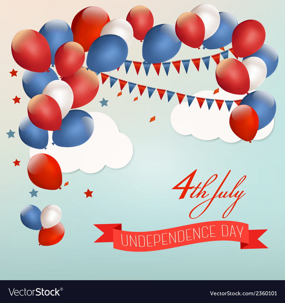Retro american background with colorful balloons vector | Price: 1 Credit (USD $1)