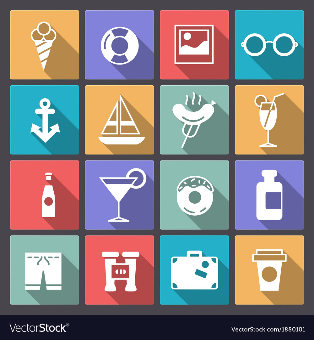 Set of recreation icons in flat design vector | Price: 1 Credit (USD $1)