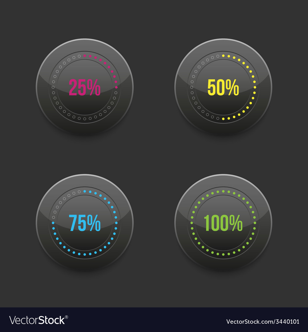 Set of round progress bar element with vector | Price: 1 Credit (USD $1)