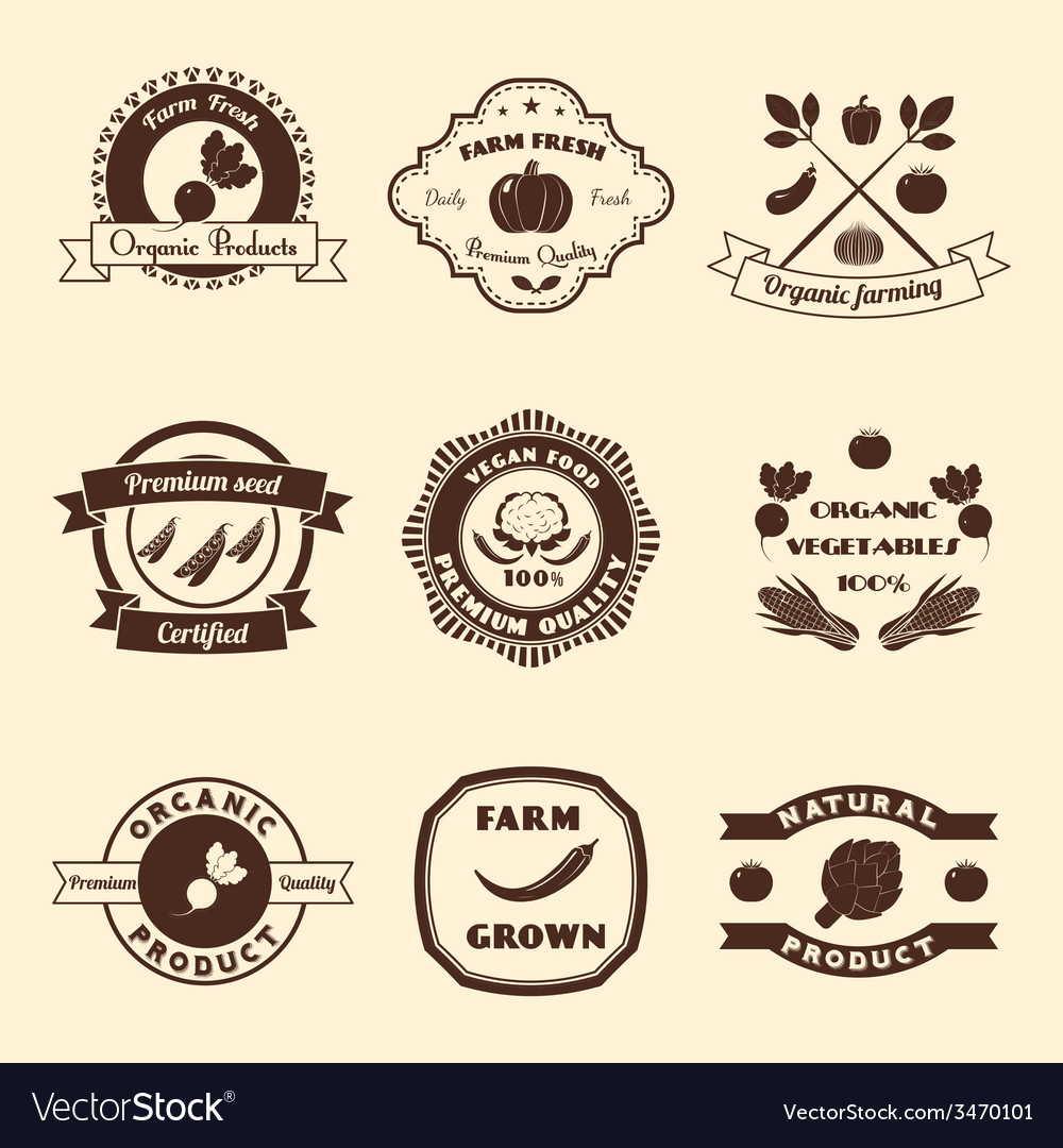 Vegetable label set vector | Price: 1 Credit (USD $1)