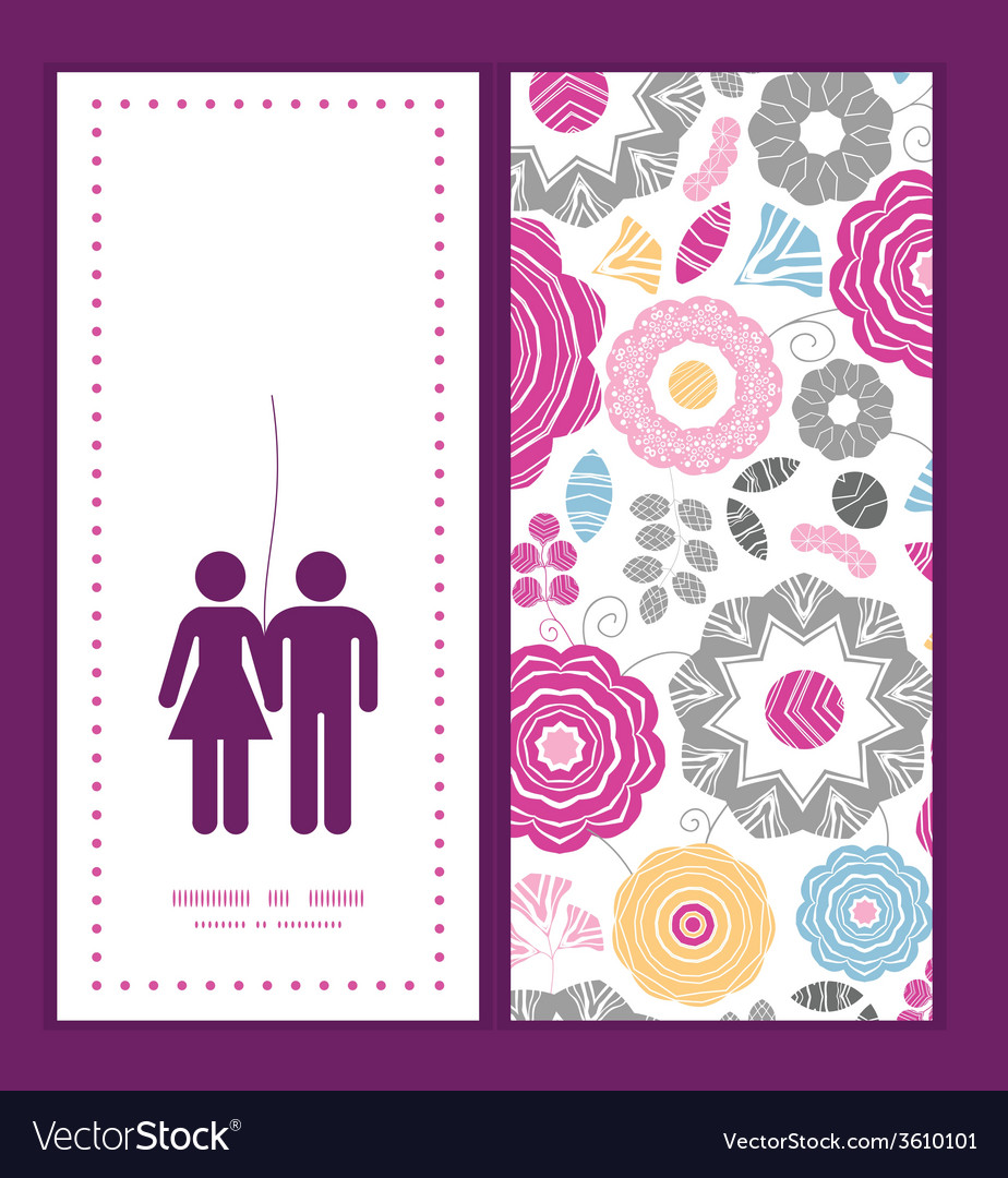 Vibrant floral scaterred couple in love vector | Price: 1 Credit (USD $1)