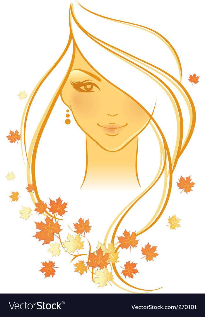 Women autumn face vector | Price: 1 Credit (USD $1)