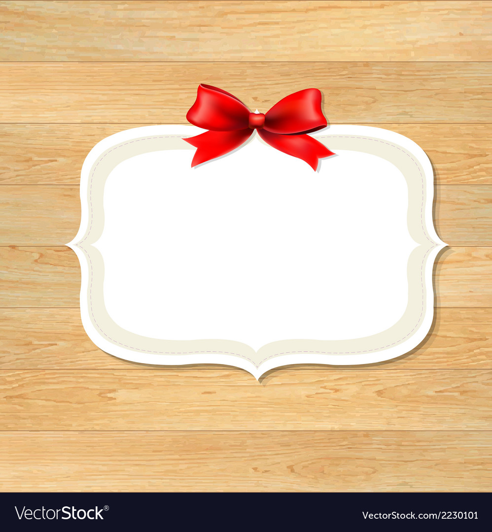 Wood wall with red bow vector | Price: 1 Credit (USD $1)