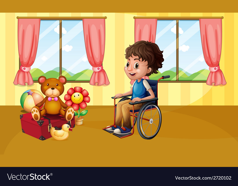 Boy in wheelchair vector | Price: 1 Credit (USD $1)